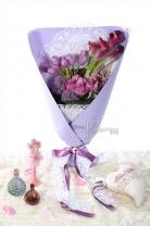 荷蘭鬱金香 + 荷蘭/紐西蘭馬蹄蘭 + 荷蘭粉雪 + 荷蘭大花蔥 +11枝玫瑰 + 襯葉