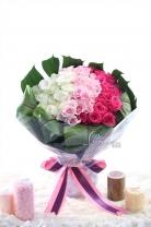 三色併玫瑰(60枝) +葉材