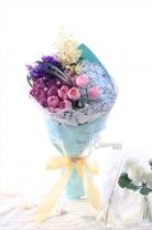 荷蘭愛麗斯 + 荷蘭鬱金香+ 荷蘭白雪+11枝玫瑰 +繡球+ 襯葉