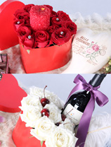 玫瑰 + 紅酒 + 蠟燭(2禮盒裝)