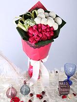 新加坡乒乓菊+台灣伯利恆之星+11枝玫瑰+ 襯葉