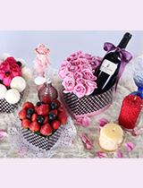 新加坡乒乓菊 + 新鮮士多啤梨及提子 + 玫瑰+ 紅酒(3禮盒裝)